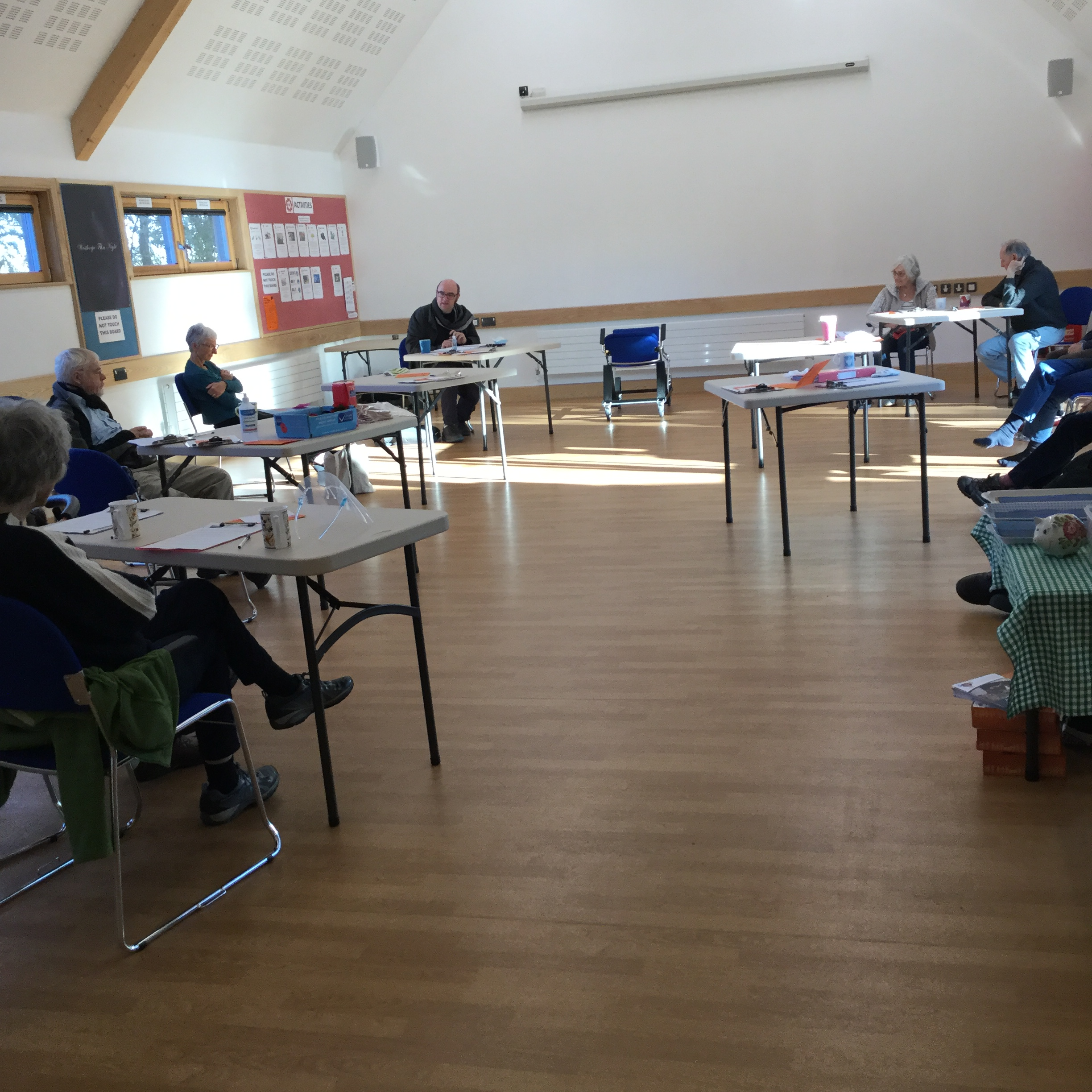 Dean Parkin leading a Connect session in Westhorpe Village Hall
