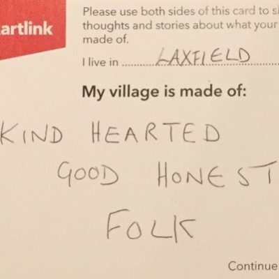 A postcard from Laxfield that reads Kind Hearted Good Honest Folk