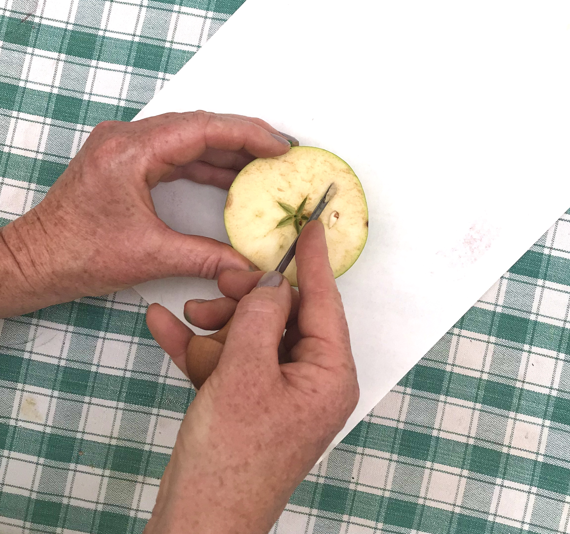 A pair of hands, holding half an apple and using a metal tool to cut a pattern in the surface of the apple