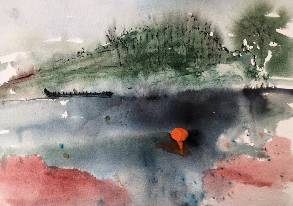 A watercolour of a river, a hill with trees in the background and a bright orange buoy bobbing on the inky black water